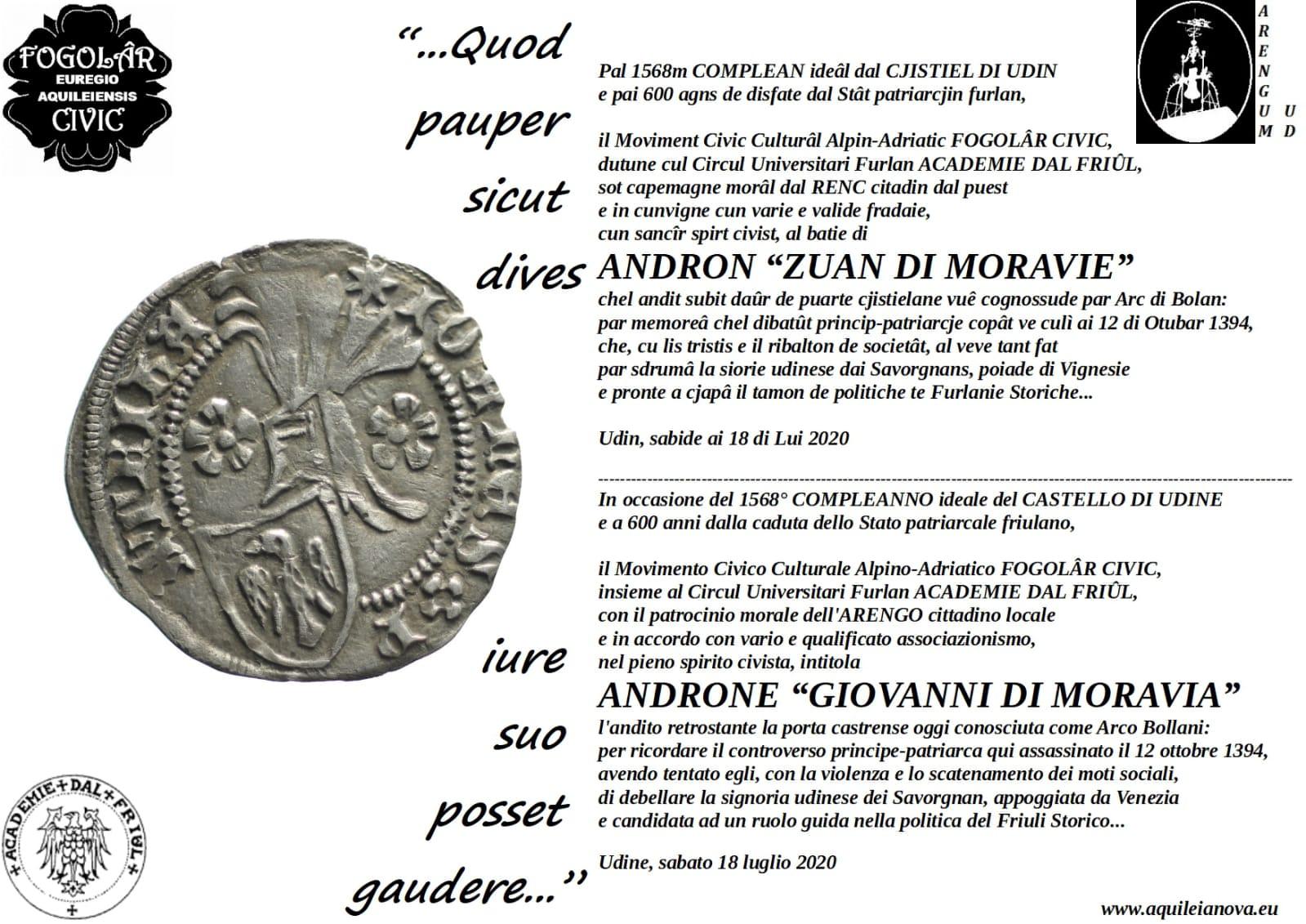 Oggi 1568° COMPLEANNO IDEALE DEL CASTELLO DI UDINE (18 luglio 452 + 2020)!